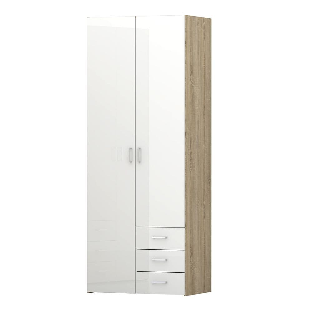 Space Wardrobe - 2 Doors 3 Drawers in Oak with White High Gloss in Oak